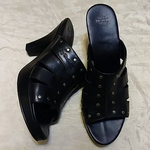 Harley Davidson Studded Open Toe Leather Clogs